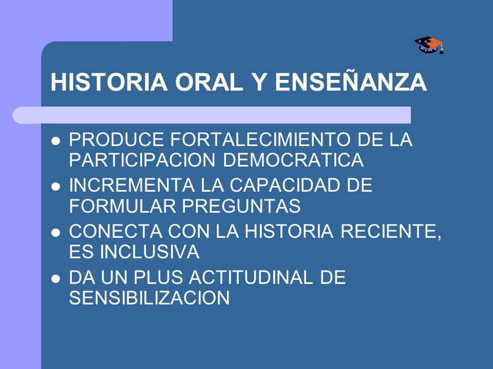 HISTORIA ORAL Y ENSEÑANZA