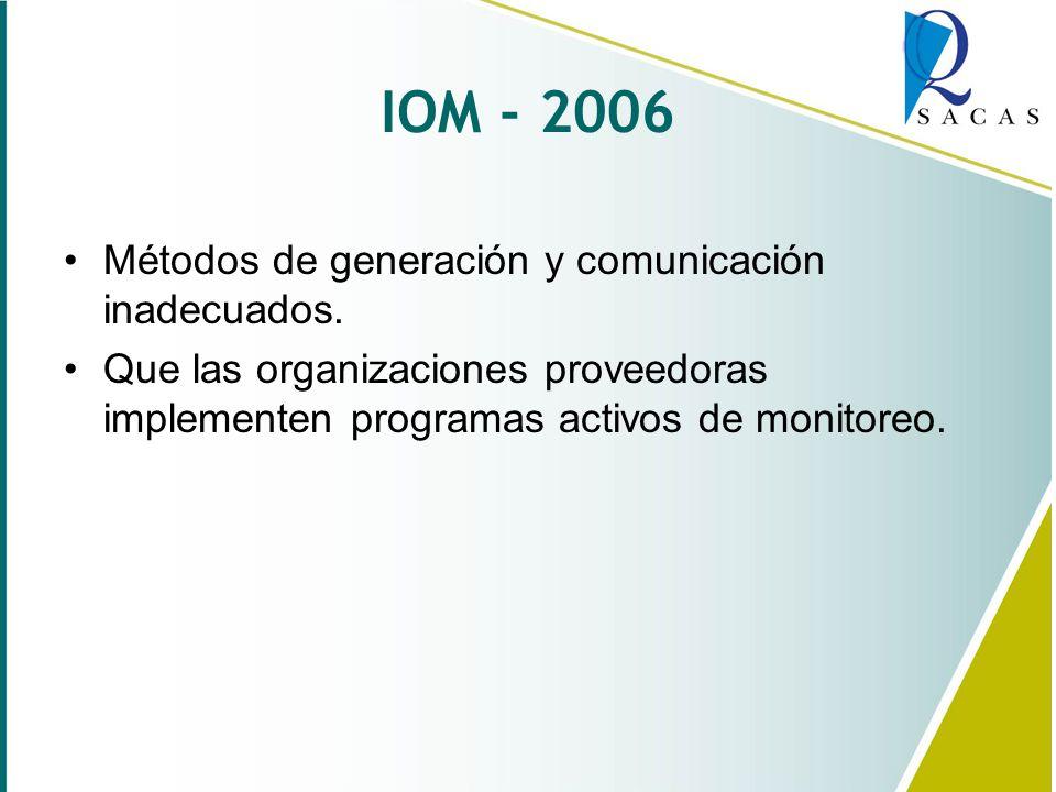 IOM - 2006 Métodos de generación y comunicación inadecuados.
