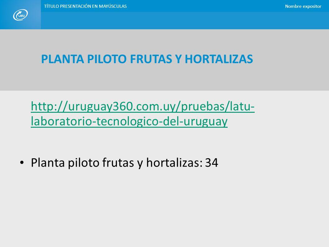 PLANTA PILOTO FRUTAS Y HORTALIZAS