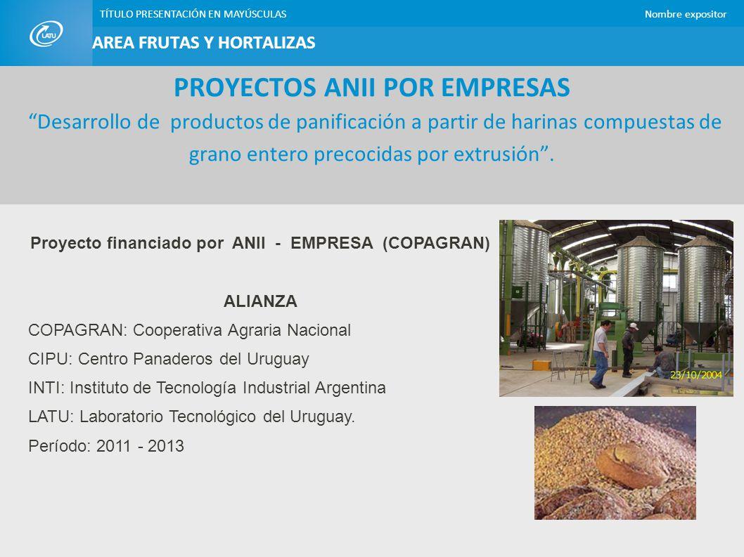 Proyecto financiado por ANII - EMPRESA (COPAGRAN)