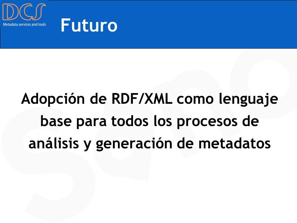 Futuro Adopción de RDF/XML como lenguaje base para todos los procesos de análisis y generación de metadatos.
