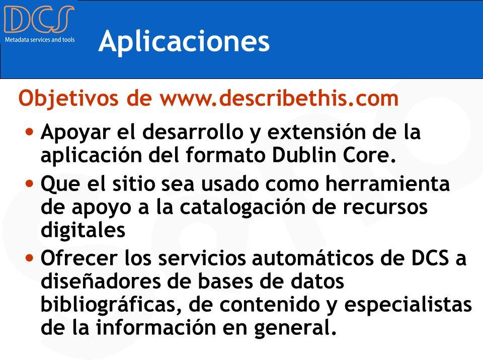 Aplicaciones Objetivos de www.describethis.com