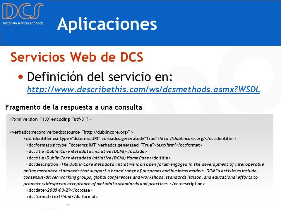 Aplicaciones Servicios Web de DCS