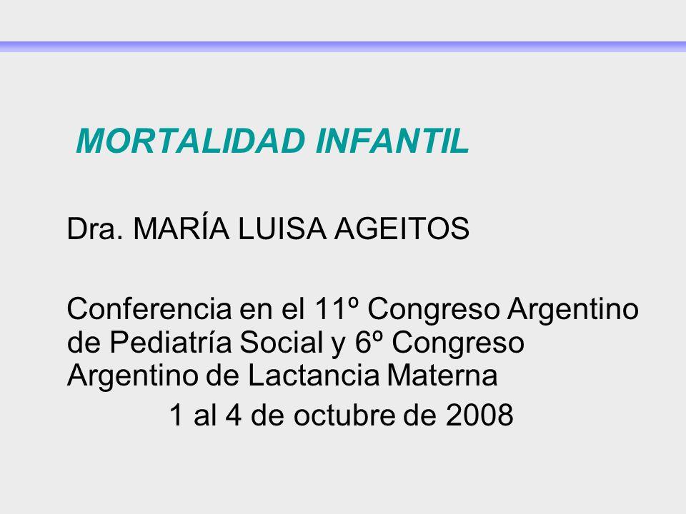 MORTALIDAD INFANTIL Dra. MARÍA LUISA AGEITOS.