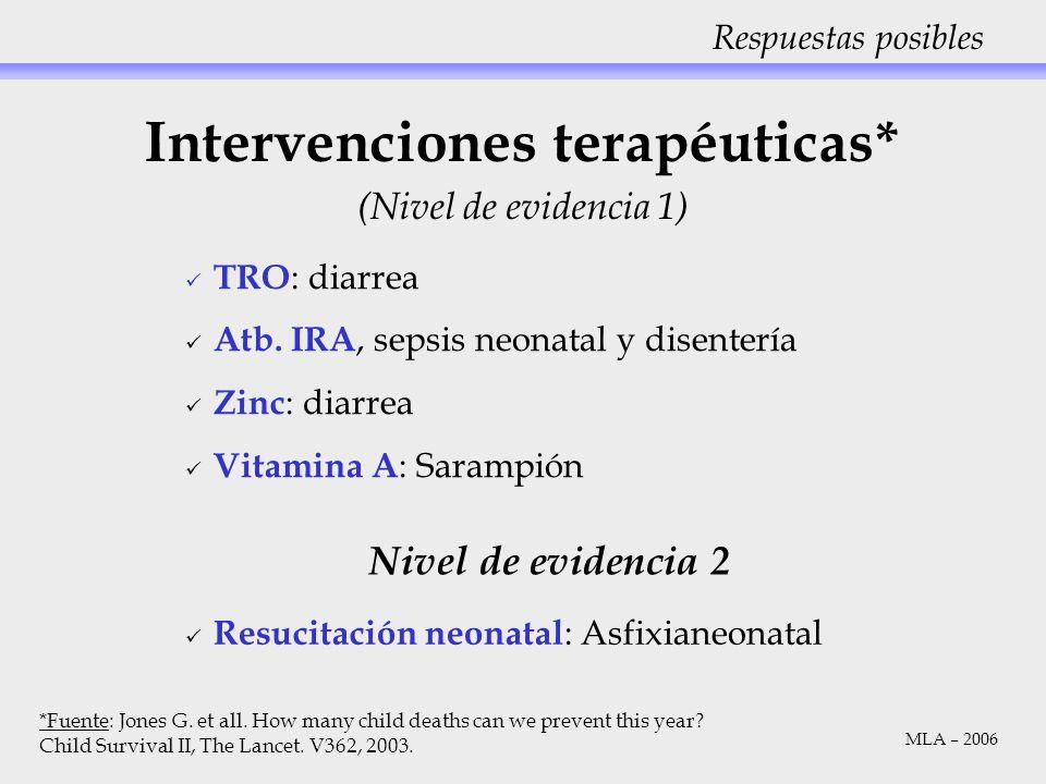 Intervenciones terapéuticas*