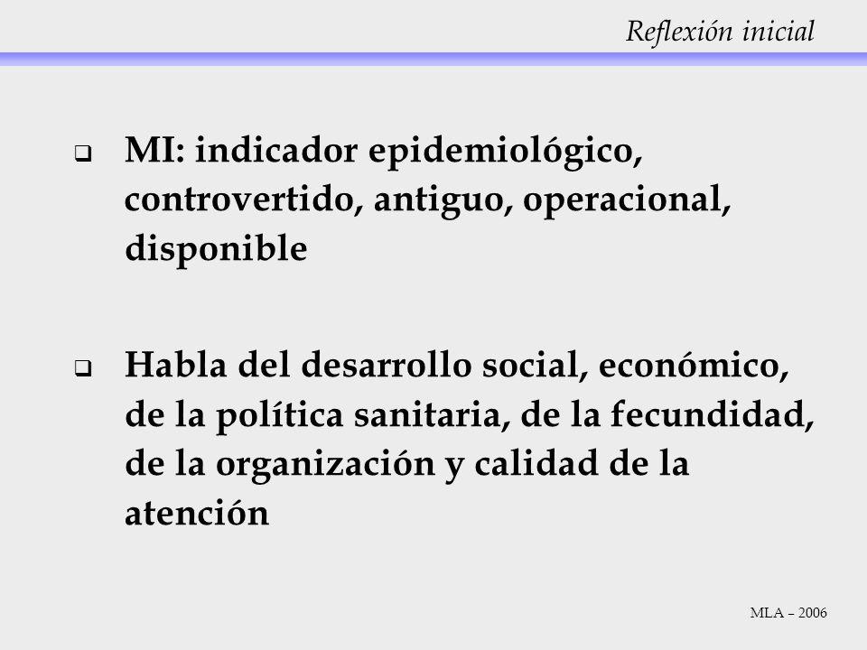 Reflexión inicial MI: indicador epidemiológico, controvertido, antiguo, operacional, disponible.