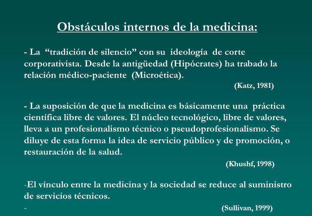 Obstáculos internos de la medicina: