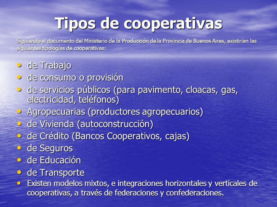 Tipos de cooperativas de Trabajo de consumo o provisión