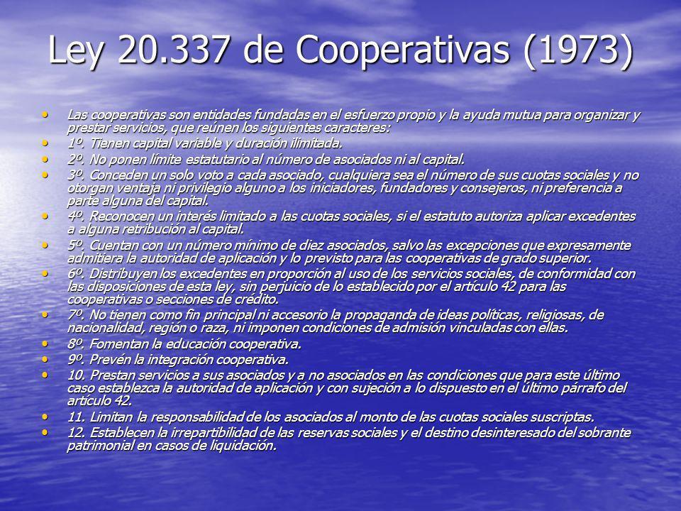 Ley 20.337 de Cooperativas (1973)