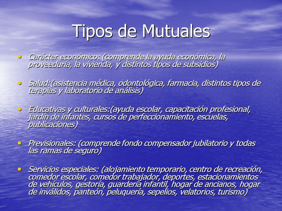 Tipos de Mutuales Carácter económico: (comprende la ayuda económica, la proveeduría, la vivienda, y distintos tipos de subsidios)