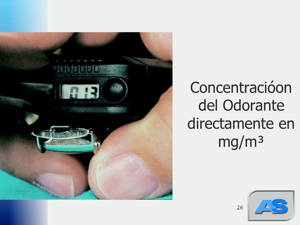 Concentracióon del Odorante directamente en mg/m³