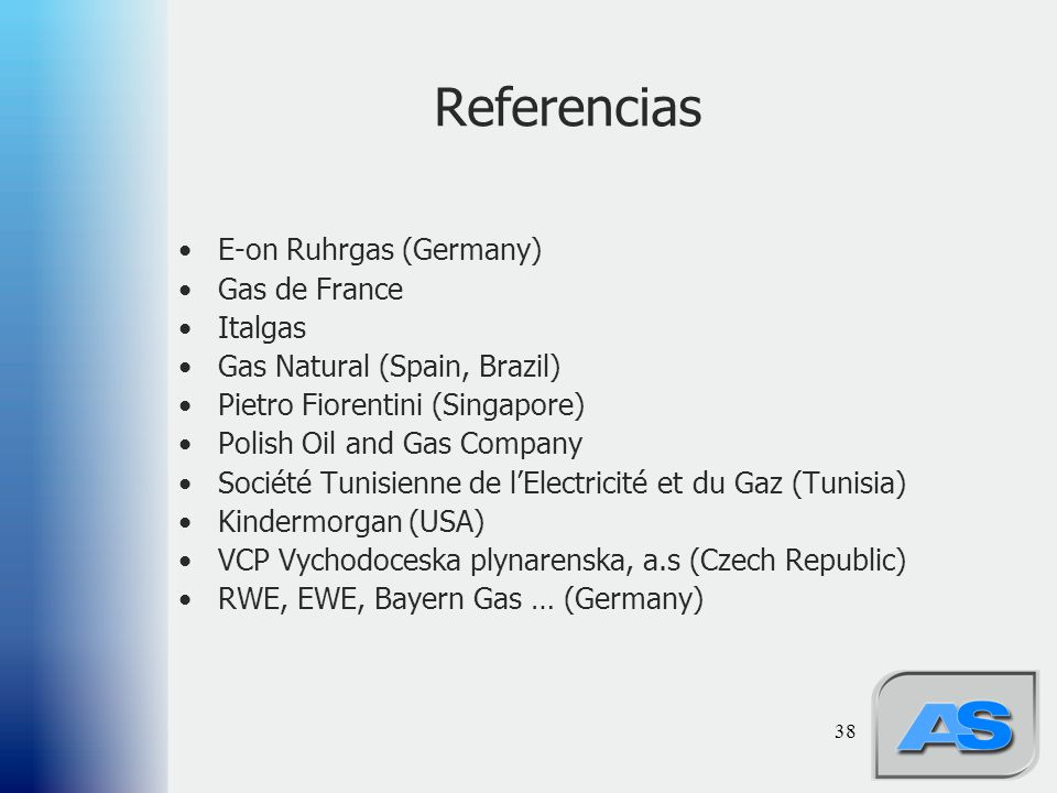 Referencias E-on Ruhrgas (Germany) Gas de France Italgas