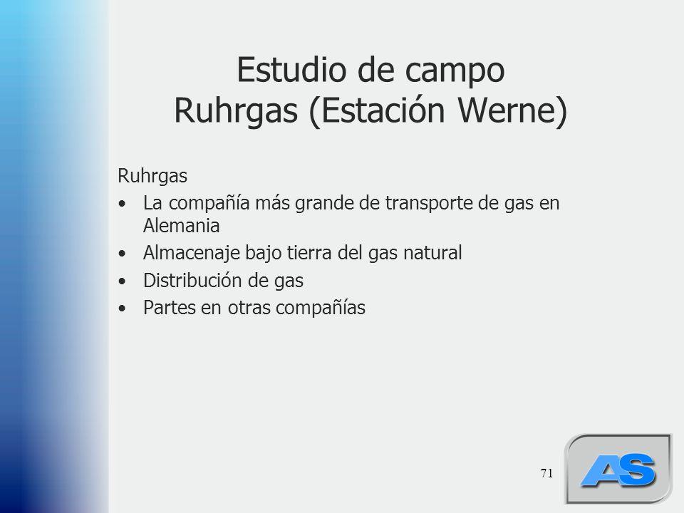 Estudio de campo Ruhrgas (Estación Werne)
