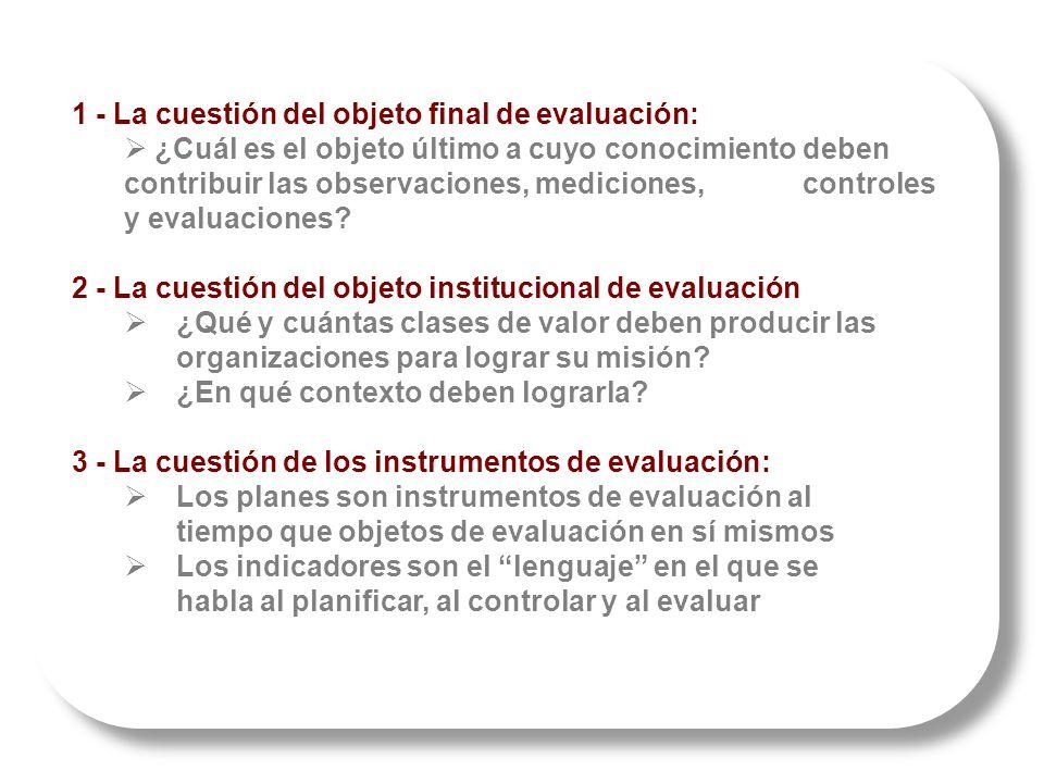 1 - La cuestión del objeto final de evaluación: