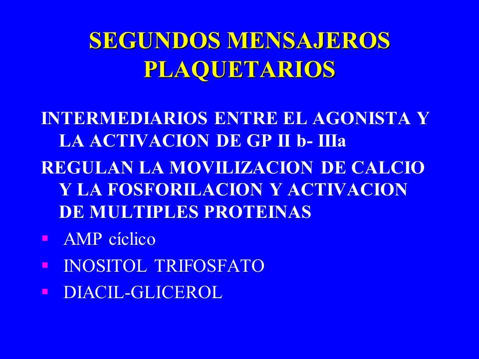 SEGUNDOS MENSAJEROS PLAQUETARIOS