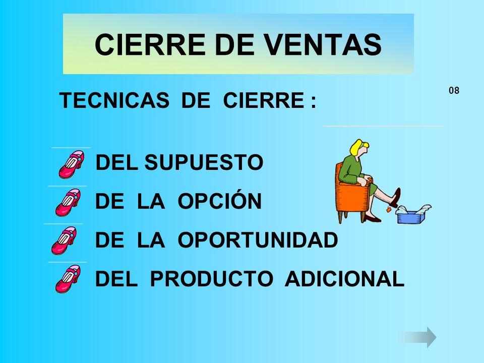 CIERRE DE VENTAS TECNICAS DE CIERRE : DEL SUPUESTO DE LA OPCIÓN