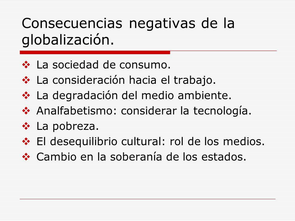 Consecuencias negativas de la globalización.