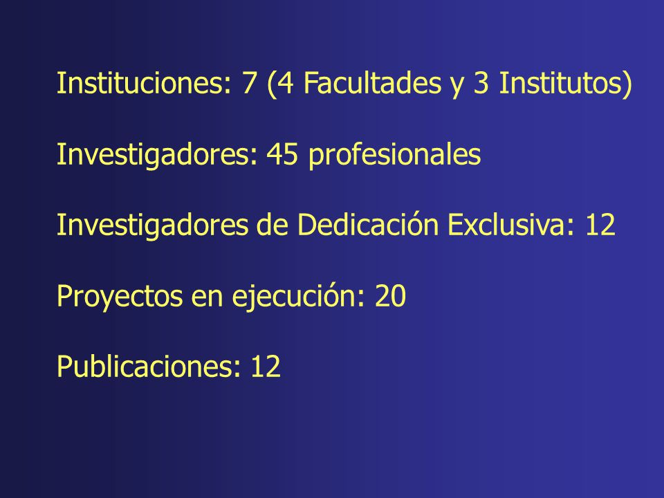 Instituciones: 7 (4 Facultades y 3 Institutos)