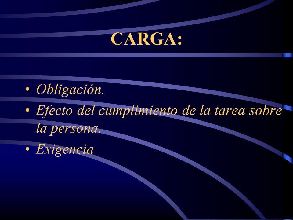 CARGA: Obligación. Efecto del cumplimiento de la tarea sobre la persona. Exigencia