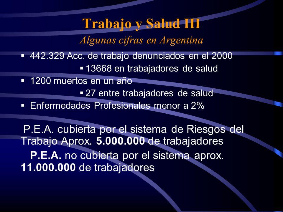 Trabajo y Salud III Algunas cifras en Argentina