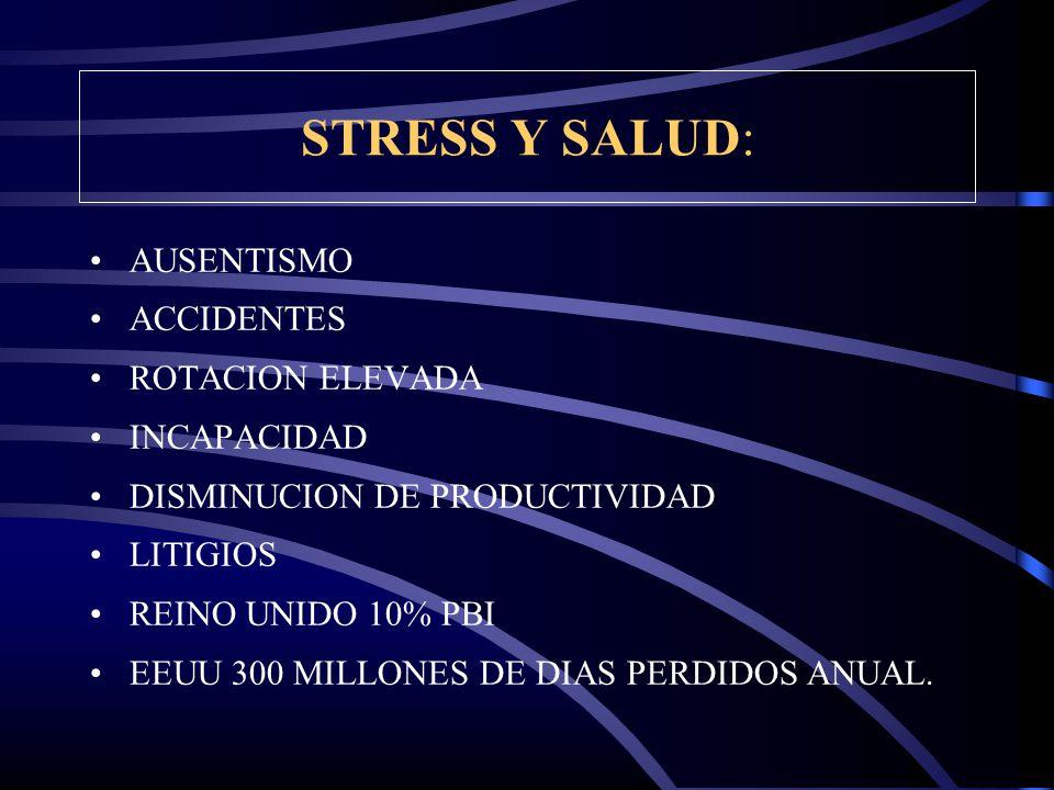 STRESS Y SALUD: AUSENTISMO ACCIDENTES ROTACION ELEVADA INCAPACIDAD