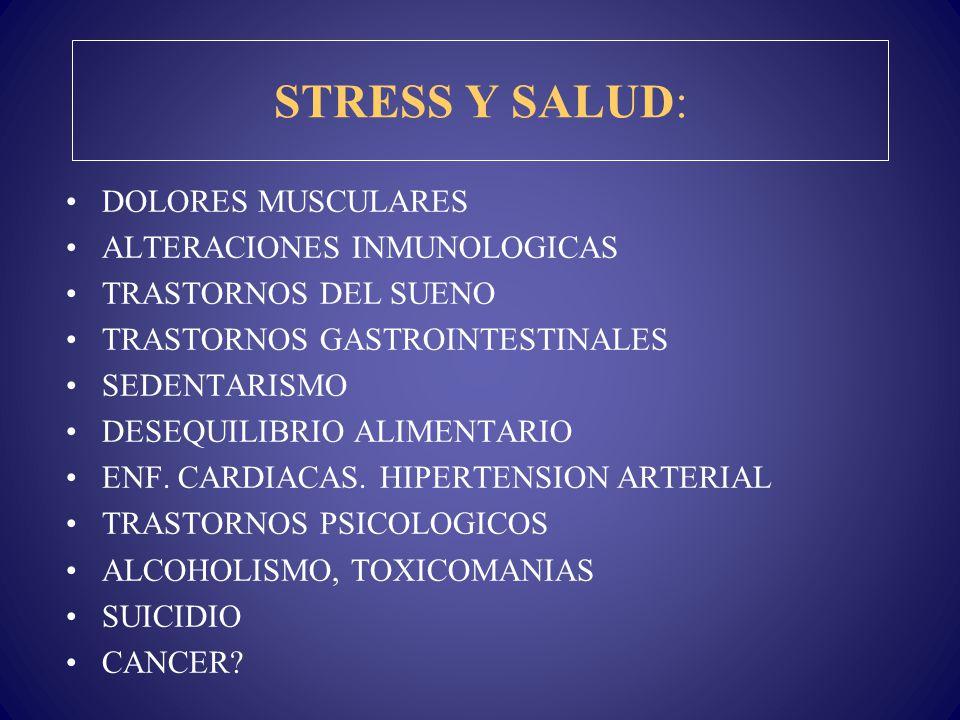 STRESS Y SALUD: DOLORES MUSCULARES ALTERACIONES INMUNOLOGICAS