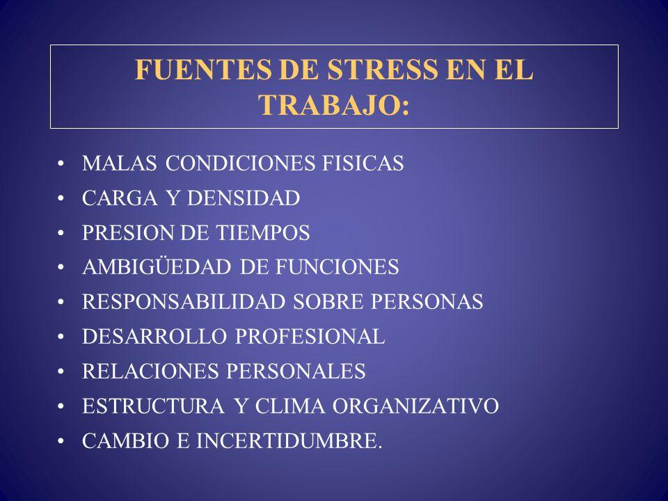 FUENTES DE STRESS EN EL TRABAJO: