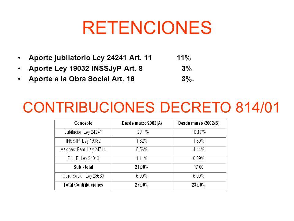 RETENCIONES CONTRIBUCIONES DECRETO 814/01