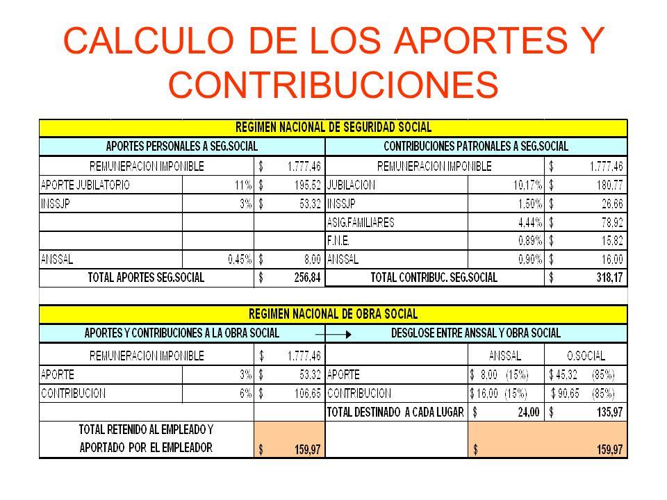 CALCULO DE LOS APORTES Y CONTRIBUCIONES