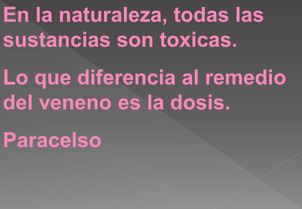 En la naturaleza, todas las sustancias son toxicas.