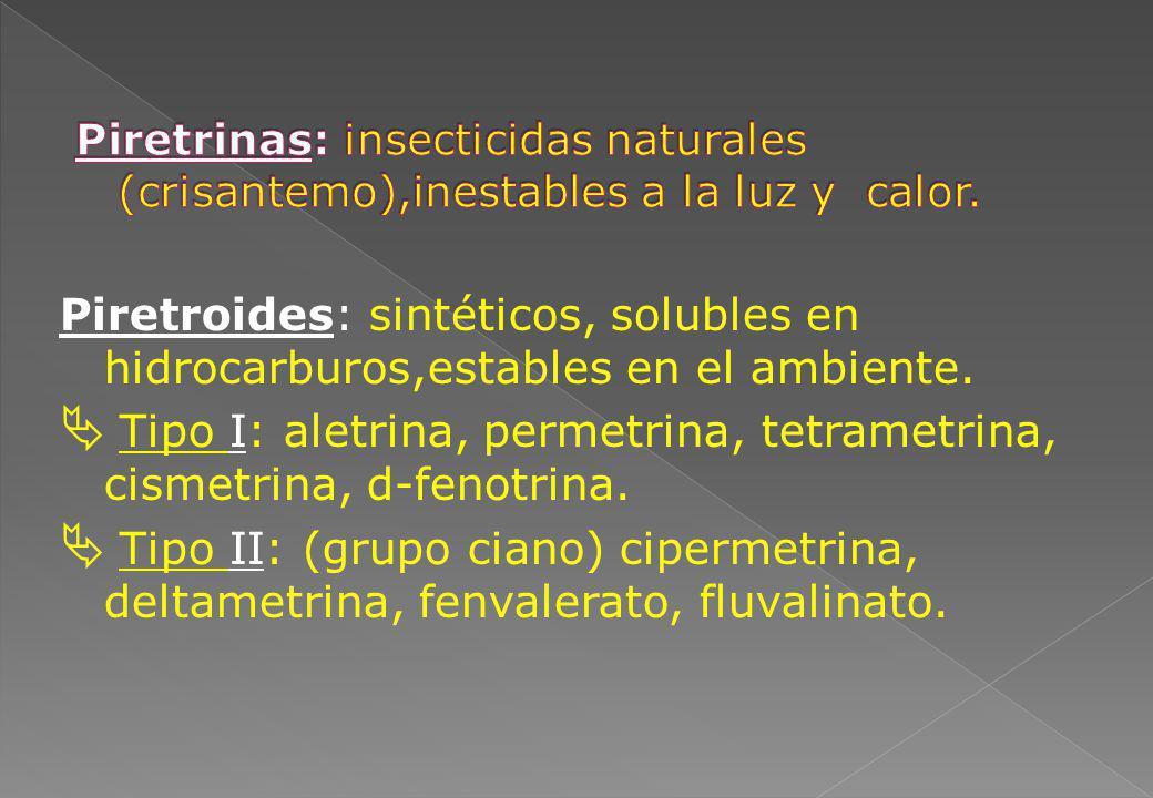 Tipo I: aletrina, permetrina, tetrametrina, cismetrina, d-fenotrina.