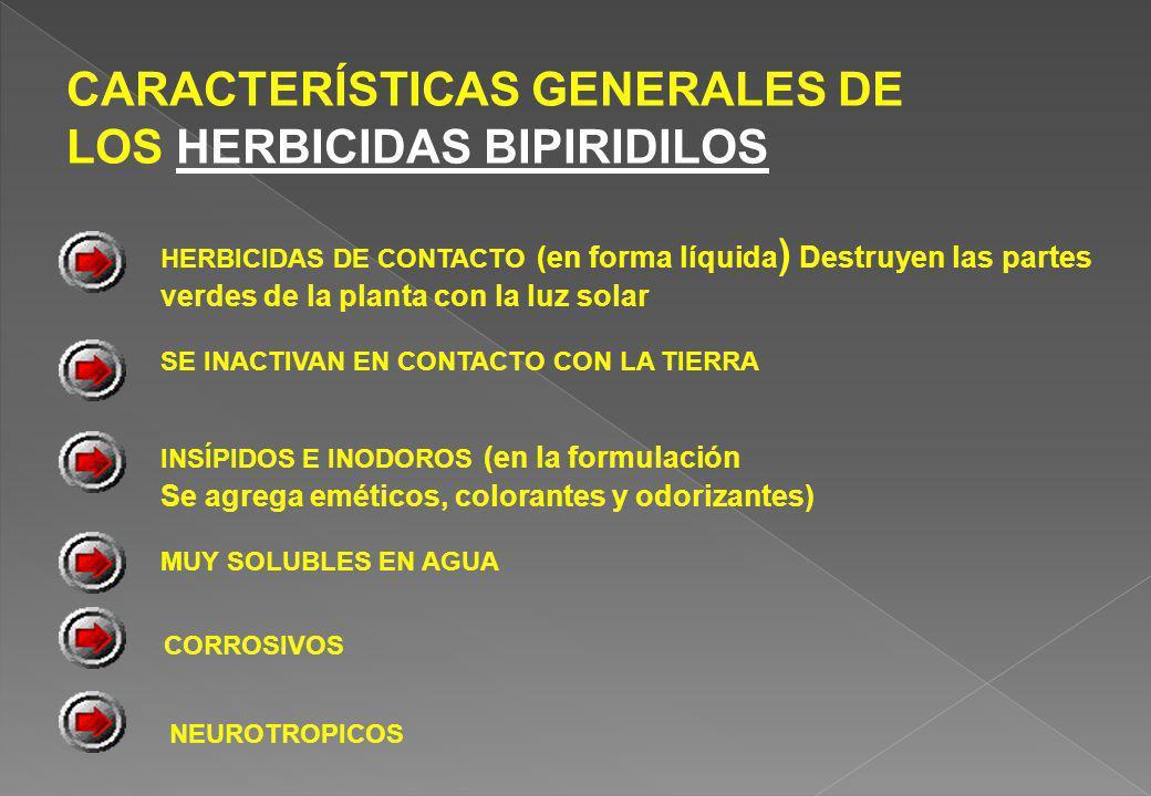 CARACTERÍSTICAS GENERALES DE LOS HERBICIDAS BIPIRIDILOS