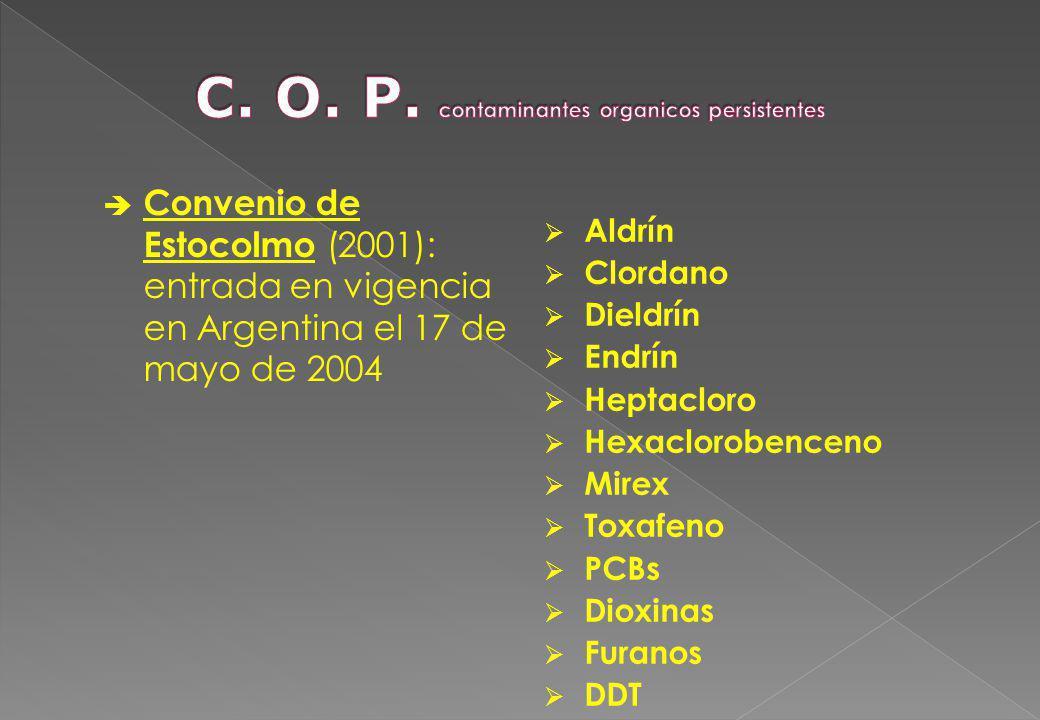 C. O. P. contaminantes organicos persistentes