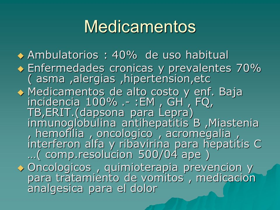 Medicamentos Ambulatorios : 40% de uso habitual