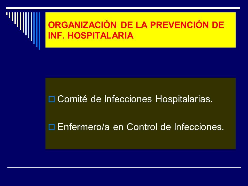 ORGANIZACIÓN DE LA PREVENCIÓN DE INF. HOSPITALARIA