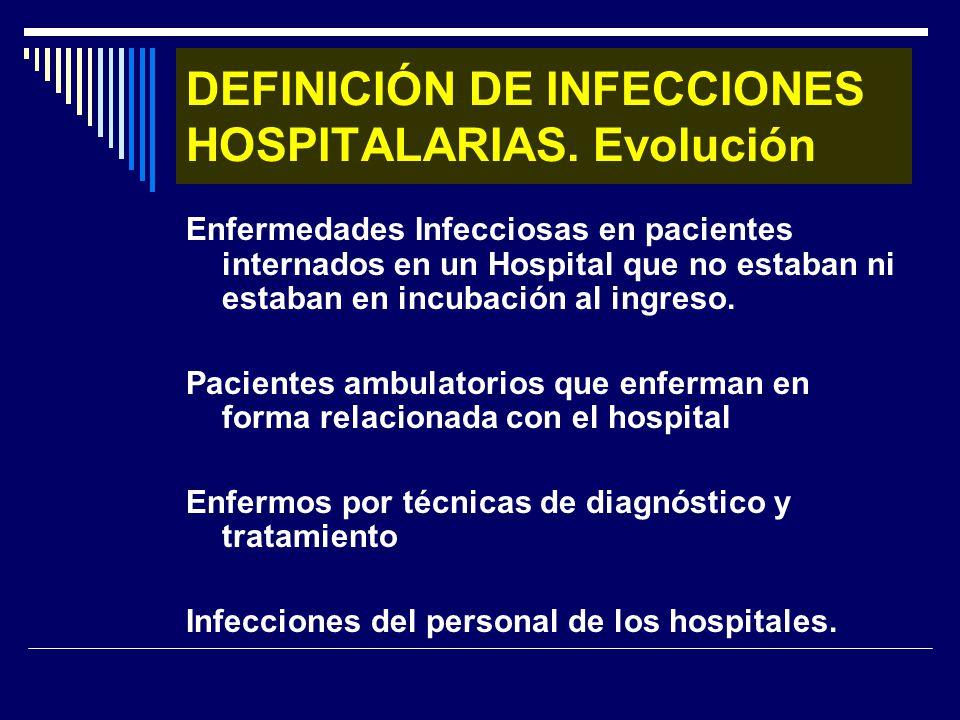 DEFINICIÓN DE INFECCIONES HOSPITALARIAS. Evolución