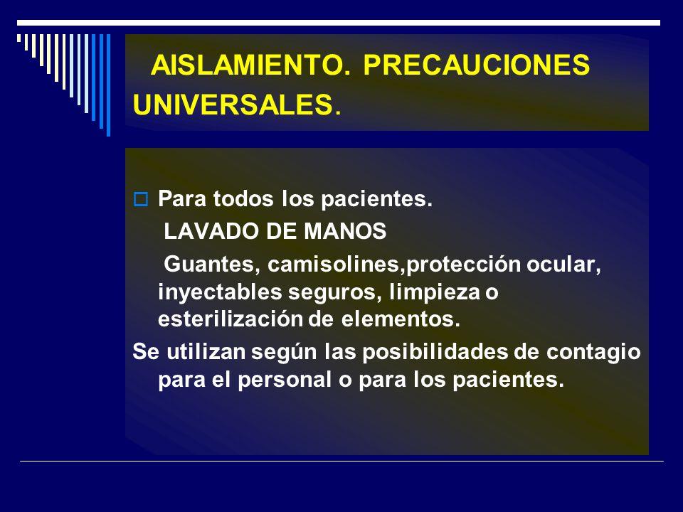 AISLAMIENTO. PRECAUCIONES UNIVERSALES.