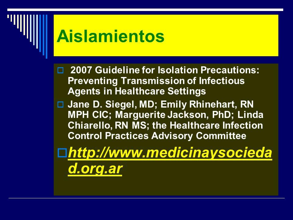 Aislamientos http://www.medicinaysociedad.org.ar