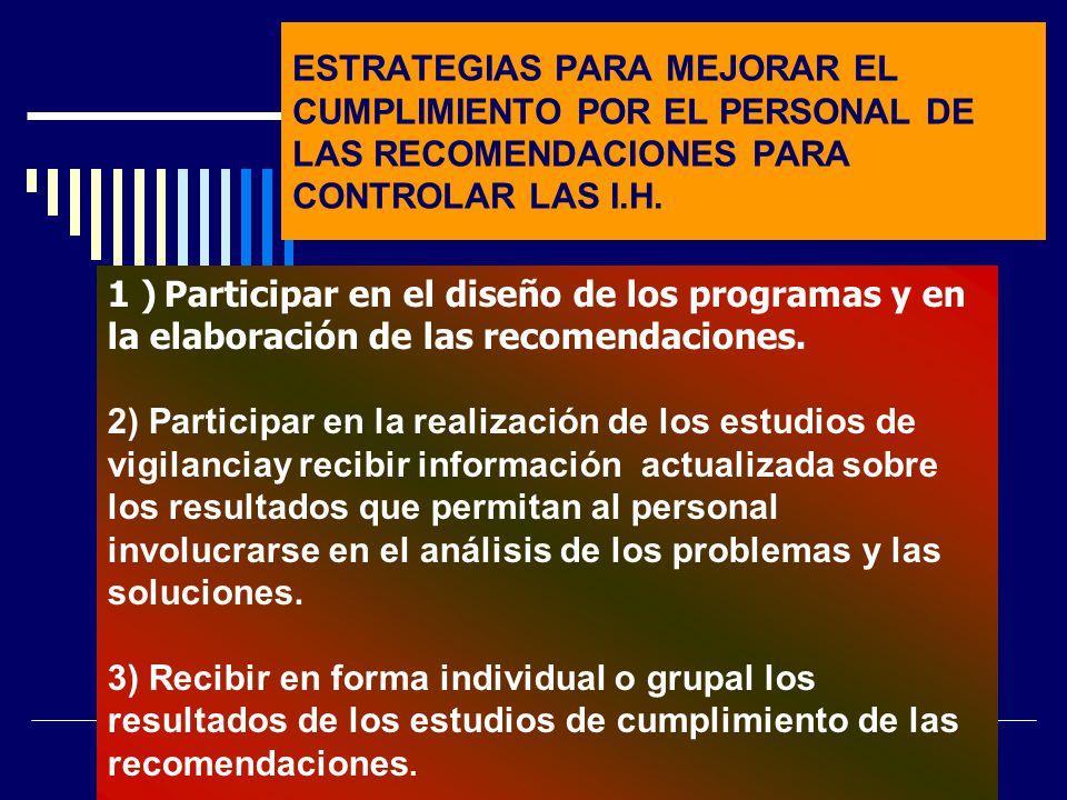 ESTRATEGIAS PARA MEJORAR EL CUMPLIMIENTO POR EL PERSONAL DE LAS RECOMENDACIONES PARA CONTROLAR LAS I.H.