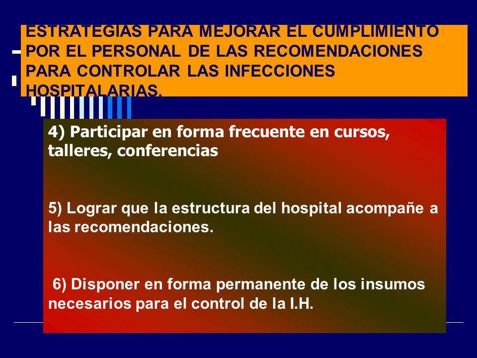 ESTRATEGIAS PARA MEJORAR EL CUMPLIMIENTO POR EL PERSONAL DE LAS RECOMENDACIONES PARA CONTROLAR LAS INFECCIONES HOSPITALARIAS.