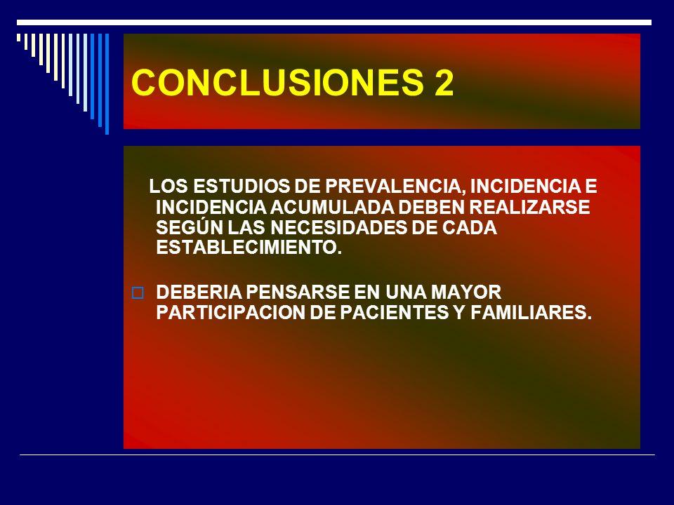 CONCLUSIONES 2 LOS ESTUDIOS DE PREVALENCIA, INCIDENCIA E INCIDENCIA ACUMULADA DEBEN REALIZARSE SEGÚN LAS NECESIDADES DE CADA ESTABLECIMIENTO.