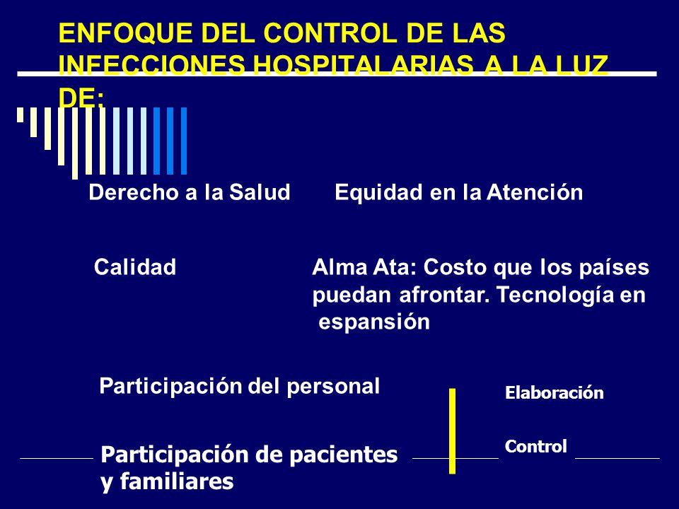 ENFOQUE DEL CONTROL DE LAS INFECCIONES HOSPITALARIAS A LA LUZ DE: