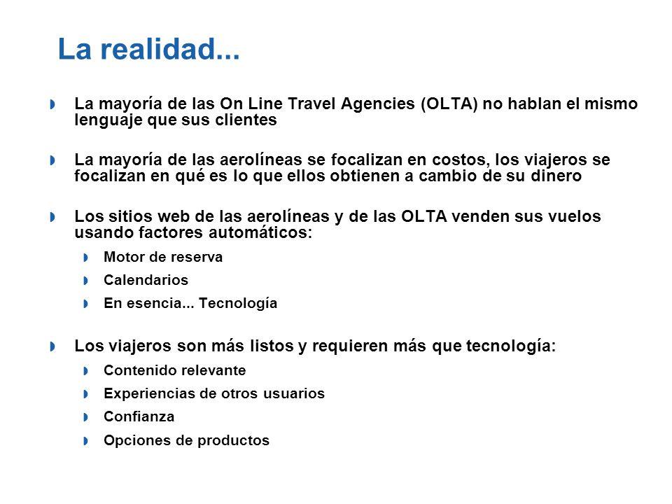 La realidad... La mayoría de las On Line Travel Agencies (OLTA) no hablan el mismo lenguaje que sus clientes.