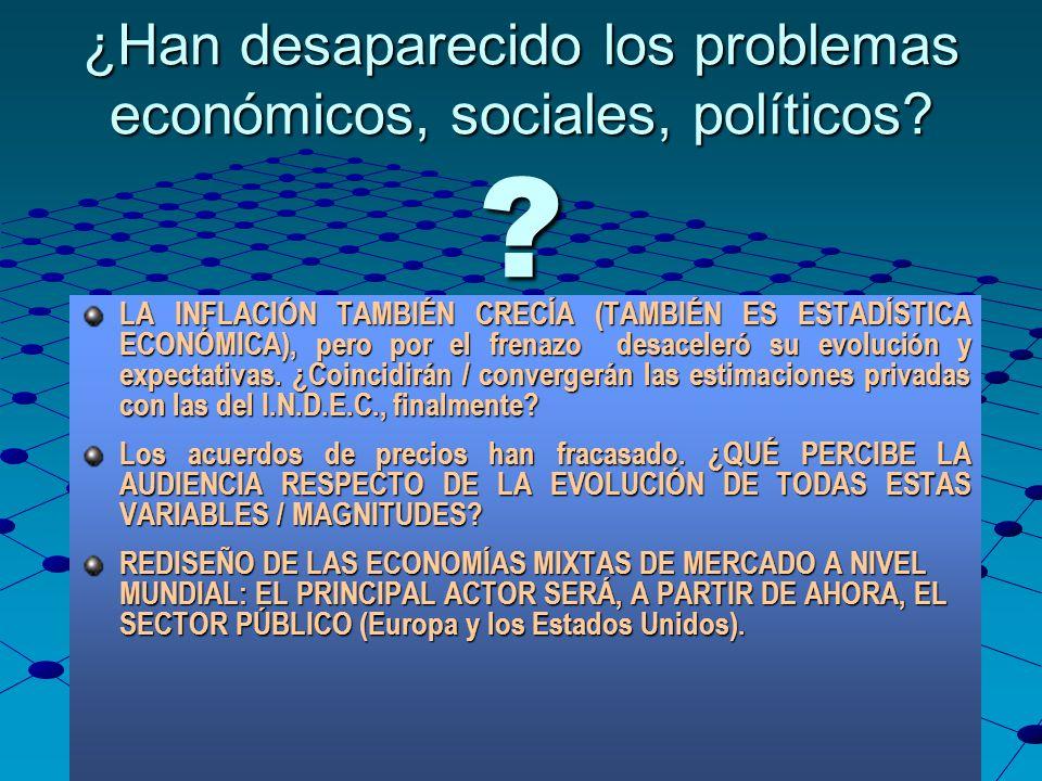 ¿Han desaparecido los problemas económicos, sociales, políticos