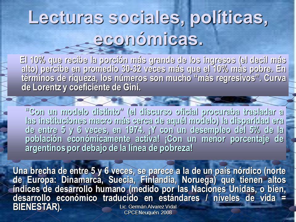 Lecturas sociales, políticas, económicas.