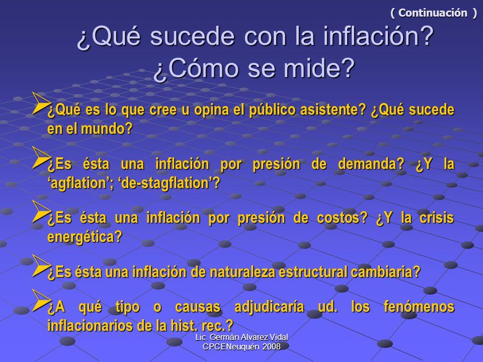 ( Continuación ) ¿Qué sucede con la inflación ¿Cómo se mide