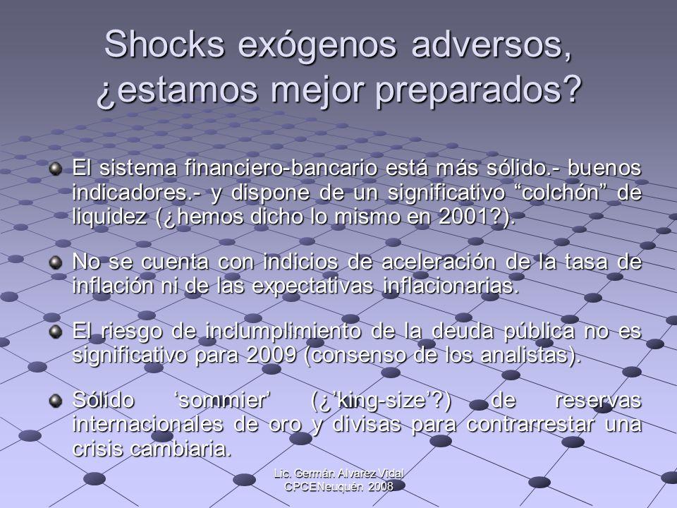 Shocks exógenos adversos, ¿estamos mejor preparados