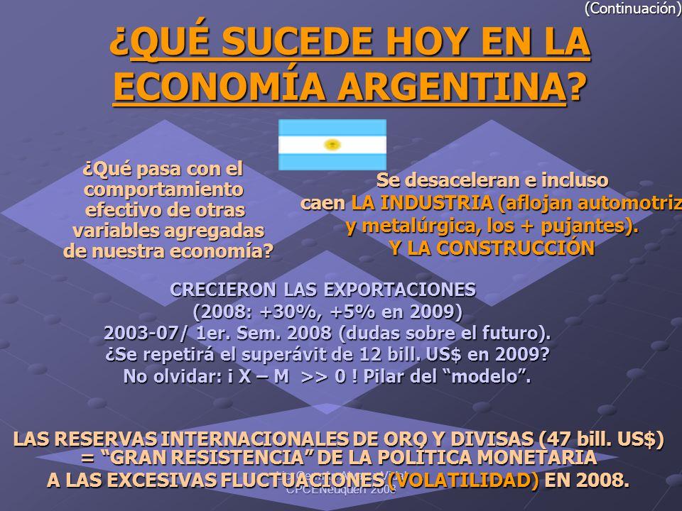 (Continuación) ¿QUÉ SUCEDE HOY EN LA ECONOMÍA ARGENTINA