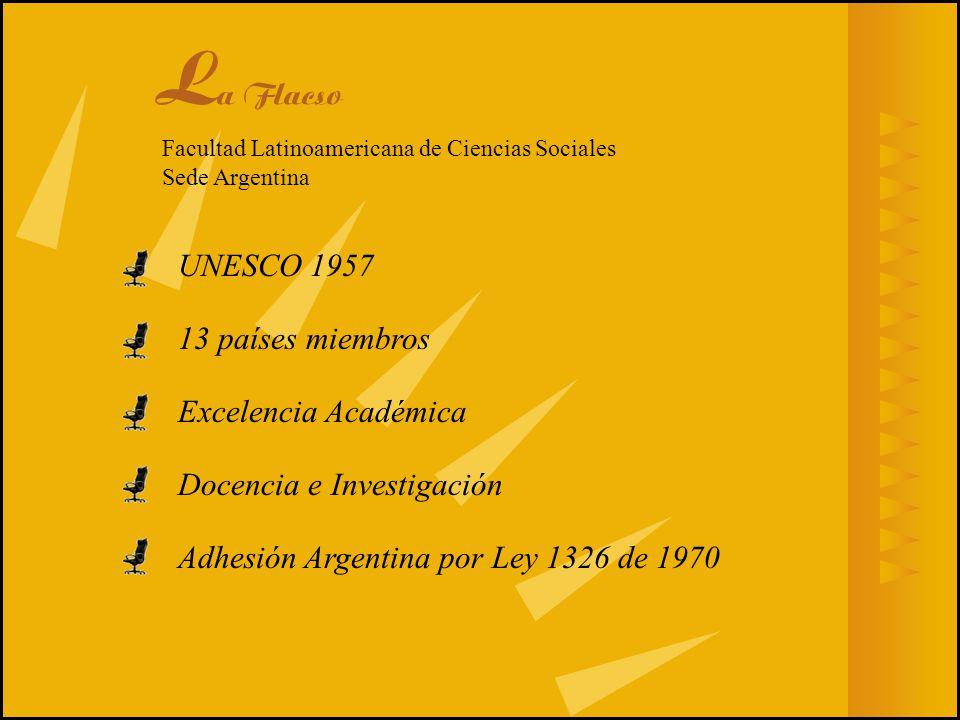 La Flacso UNESCO 1957 13 países miembros Excelencia Académica