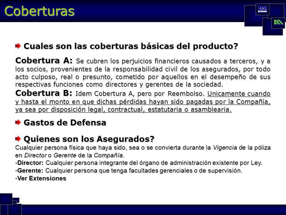 Coberturas Cuales son las coberturas básicas del producto
